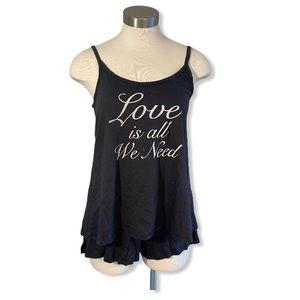Life is Good Sleep Set Pyjamas Love Shorts Tank